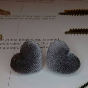 Jewelry - Grey Velvet Post Heart Earrings